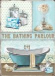 10383 - The Bathing Parlour Shabby 12 x 16 Chic Metal Steel Bathroom Sign Plaque